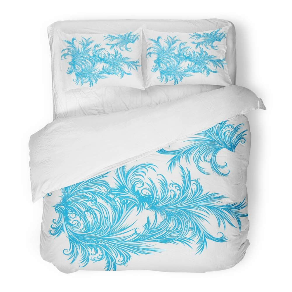 Emvency Decor Duvet Cover Set Twin Size Blue Winter Intricate Frost Work Frosty Window Pattern White Abstract Bright 3 Piece Brushed Microfiber Fabric Print Bedding Set Cover