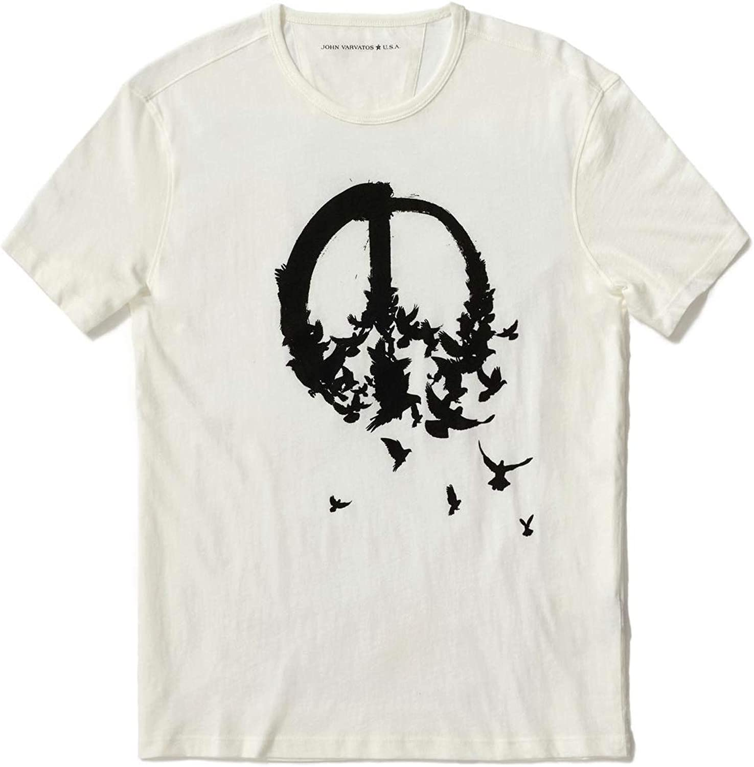 John Varvatos Star USA Mens Short Sleeve Peace Birds Graphic Crew T-Shirt
