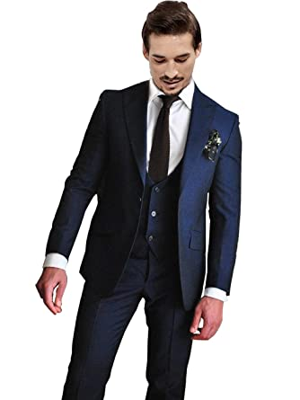 cc23ff18 Newdeve 1 Button Navy Blue 3 Pieces Men Suits Wedding Party Tuxedo (XS)