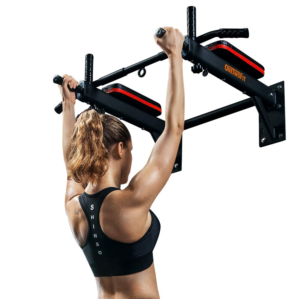 OneTwoFit Wall Mounted Pull Up Bar Chin Up Exercise Bar Gym Dip Station Home Full Body Trainer with Punching Bag Eyelet for Boxing Power Ropes OT066R