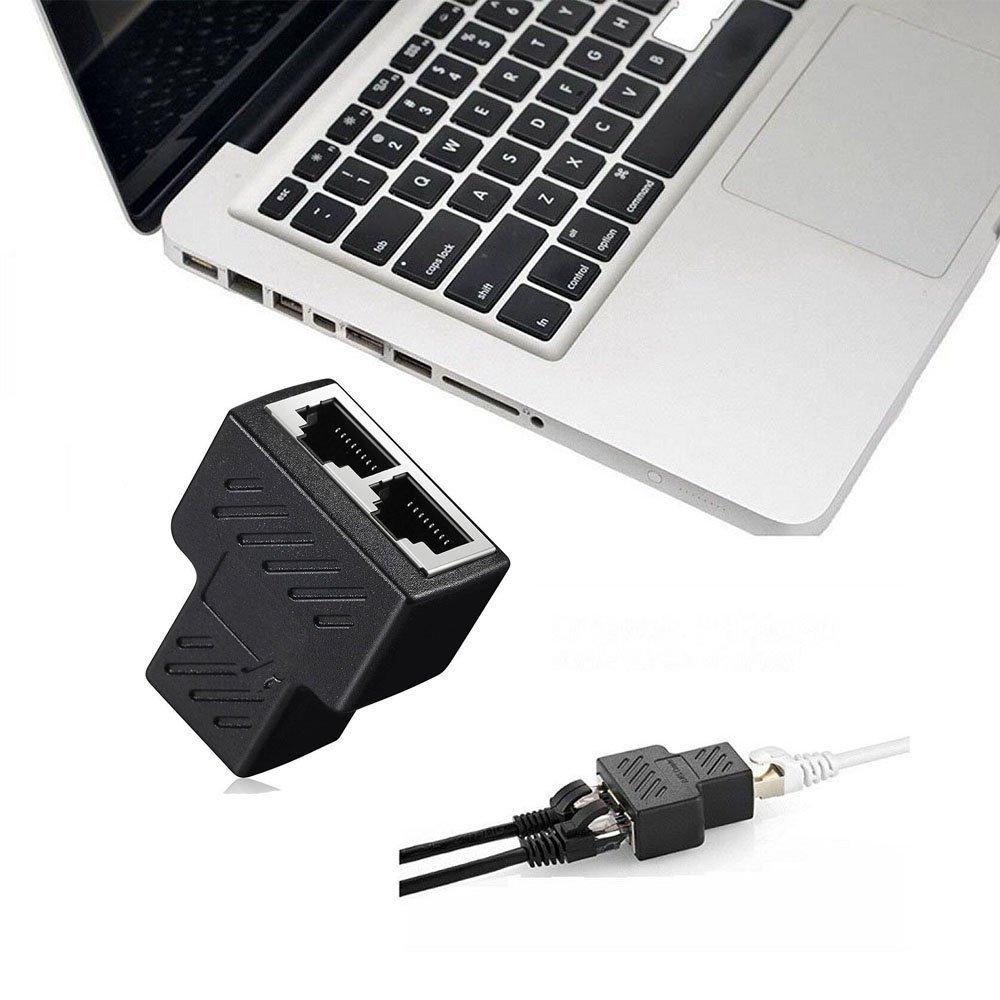 Cat6 Cat5e RJ45 Splitter Adapter Black AKwor 1 to 2 Port USB to RJ45 Socket Adapter Interface Ethernet Cable 8P8C Extender Plug LAN Network Connector for Cat5 Cat7