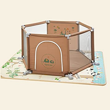 Color : Brown Baby Activity & Entertainment Portable Baby Activity Center with Mat and Balls for Boys Blue Baby Play Yard for Outdoor Indoor Home 6 Panel