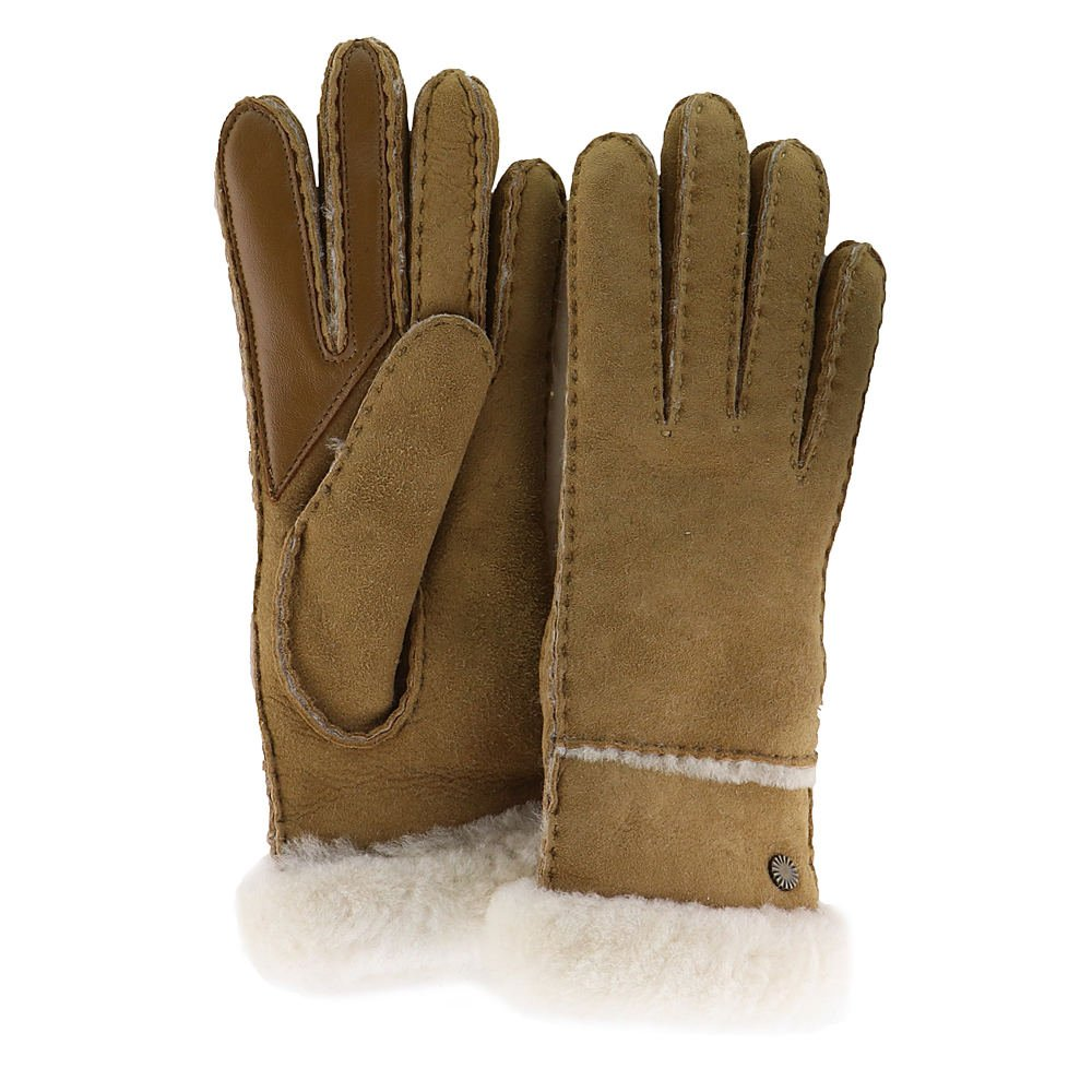 UGG Women's Exposed Waterproof Sheepskin Tech Gloves with Slim Pile Chestnut LG
