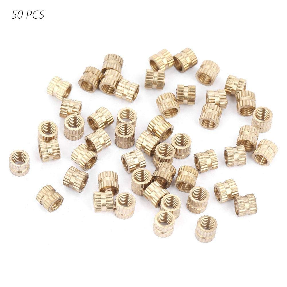 M4*4 * 5.2(50pcs) Brass Cylinder Knurled Nuts Round Female Thread Molded-in Insert Nuts Embedded Injection Molding Assortment Kits Set