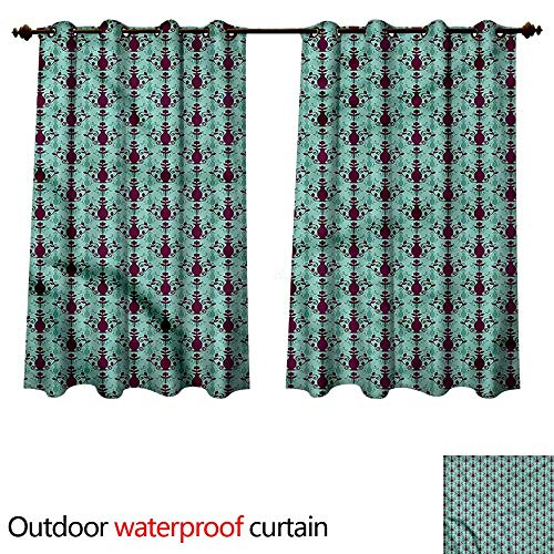 (cobeDecor Damask Outdoor Curtain for Patio Floral Vase Pattern W96 x L72(245cm x 183cm))