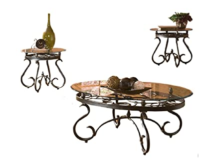 Lux Coffee Table Set Decor Round Glass Rustic 3 Pieces Mid Century S Shaped  Legs Low