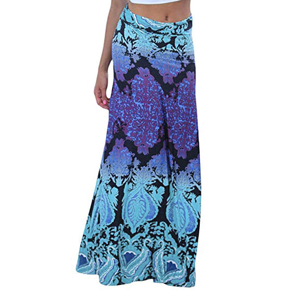Women Floor-Length Skirt,Dacawin Ladies Vintage Coral Print High Waist Casual Lightweight Soft Long Maxi Skirts