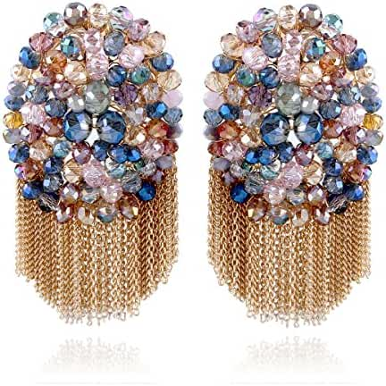 Kaymen Fashion Crystals Pearl and Chains Dangle Drop Earrings for Women Wedding