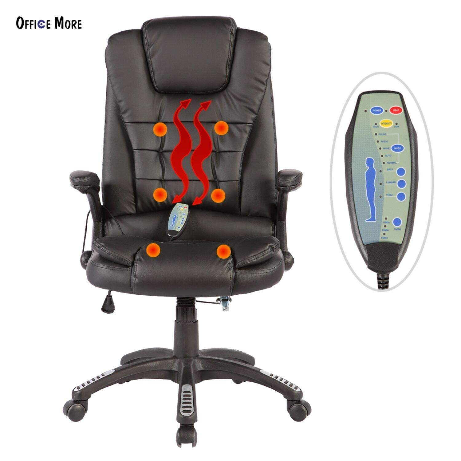Black Massage Chair Office Swivel Executive Ergonomic Heated Vibrating Leather Chair, Remote Control 6-Point Massage, Adjustable Seat Height & Position