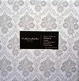 Tahari Bedding 4 Piece Cotton Full Sheet Set Gray White Grey Venetian Damask Medallion Print Cotton Sateen Luxury 300tc