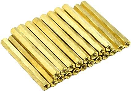 Hxchen M3x10mm Female Thread Brass Hex Standoff Spacer Nut Hexagonal Pillar Screw 50 Pcs
