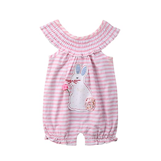 5af17a13439b Baby Girl Floral Rabbit Romper Jumpsuit Kids Girl Stripes Bodysuit  One-Piece Romper Clothes (