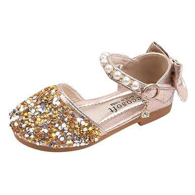 Zapatos de tacón niña Princesa ❤️Absolute Sandalias de Lentejuelas Brillantes de Baby Girls Zapatos de la Princesa del Bowknot de bebé Sandalias de Vestir ...