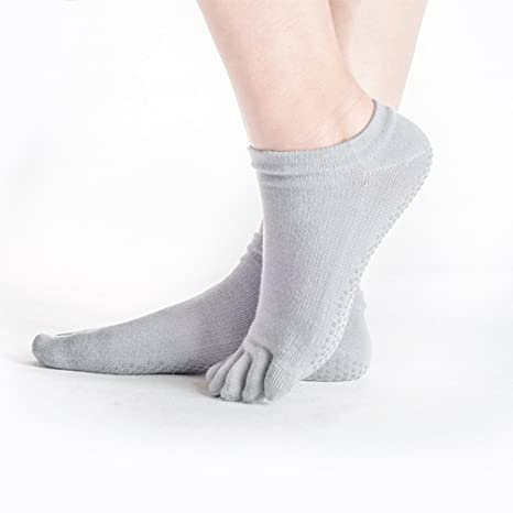 Protección antideslizante antideslizante calcetines Yoga Pilates Calcetines Ideal para yoga pilates Danza Fitness, gris