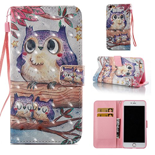 Price comparison product image iPhone 6S Case,  iPhone 6 Case,  ARSUE Magnetic Premium Slim Fit PU Leather Kickstand Wallet Flip Protective Case Cover with Card Slot for Apple iPhone 6 6s (4.7 Inch)(Cute Owl)