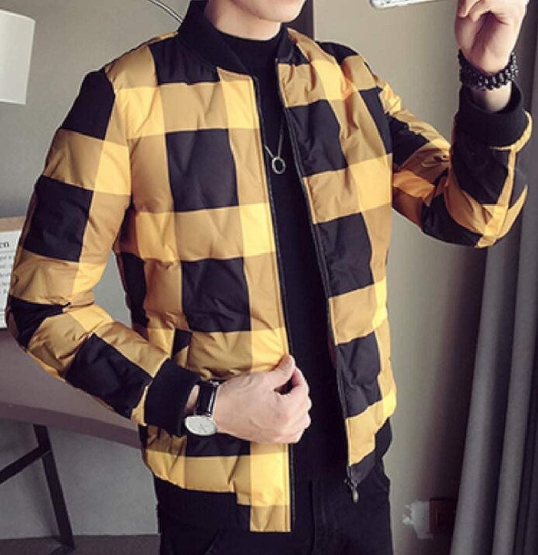 Fubotevic Mens Winter Checkered Quilted Slim Warm Mandarin Collar Down Jacket