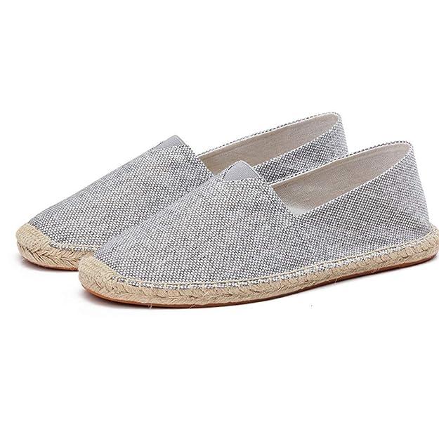 Calzado de Hombre Calzado de cáñamo Alpargatas de Primavera Zapatos de Lona para Hombre Zapatillas de Deporte Transpirables en Mocasines sólidos: Amazon.es: ...