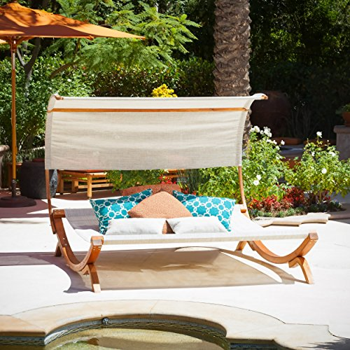 Christopher Knight Home 295296 Marrakech Sunbed with Canopy, Teak Stained Wood/Off-White Fabric