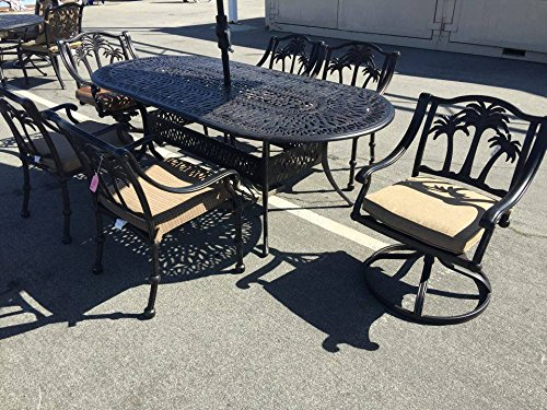 Aluminum Tree Bench - Palm tree Cast Aluminum Powder Coated 7pc Outdoor Patio Dining Set with 42