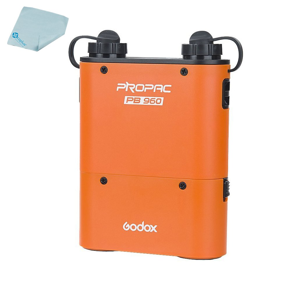 Godox 4500mAh PB960 Flash Power Battery Pack with Dual Output for Godox AD360 AD180 Flash Canon 580EX II, 580EX, 550EX, Nikon SB-900 SB-800 SB-80DX, Sony HVL-F58AM HVL-F43AM + Mcoplus Cloth by mcoplus
