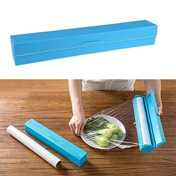 Cortador de papel film Alimentos envoltura de plástico azul dispensador de papel de aluminio cera: Amazon.es: Hogar
