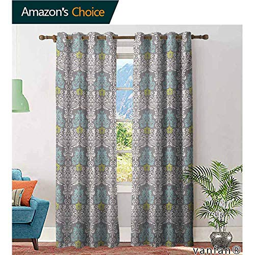 (Big datastore Elegance Sheer Window Curtain Panel,Grey BlueTraditional Colorful Damask Pattern with Floral Elements on Greyscale Background,Set of 2 Panels,Multicolor,W96 xL84)
