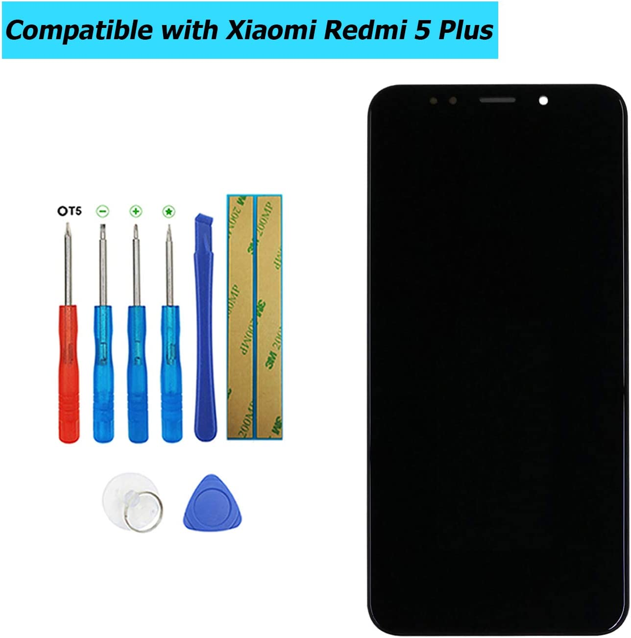 Upplus - Pantalla LCD de Repuesto Compatible con Xiaomi Redmi 5 Plus, Pantalla táctil LCD con Marco, Kit de Herramientas (Negro)