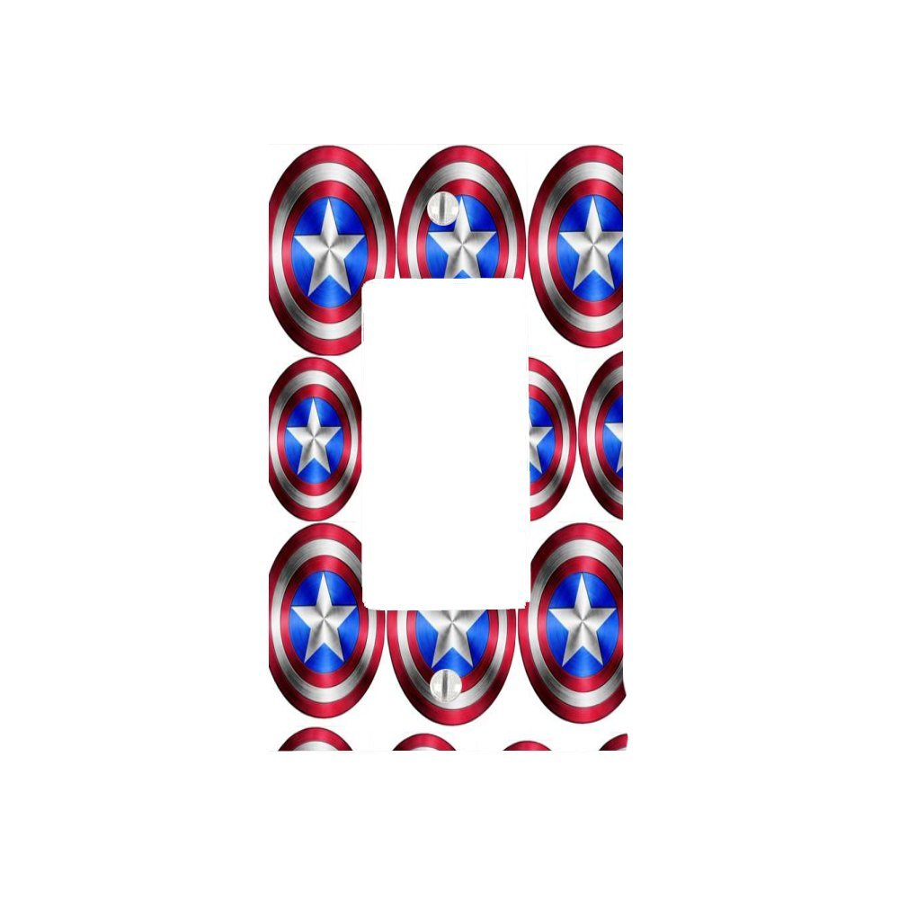 Multiple Captain America Shields Design Print Image 1 Gang Decorator Dimmer Wall Plate (2.94 x 4.69in)
