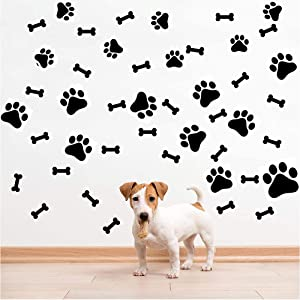 SITAKE 76 Pcs Dog Decor Stickers, 40 Pcs Dog Paw Print Stickers and 36 Pcs Dog Bones Stickers, Dog Decorations Wall Floor Windows Decal Stickers for Kids Room, Teen Girl's Room and Boy's Room