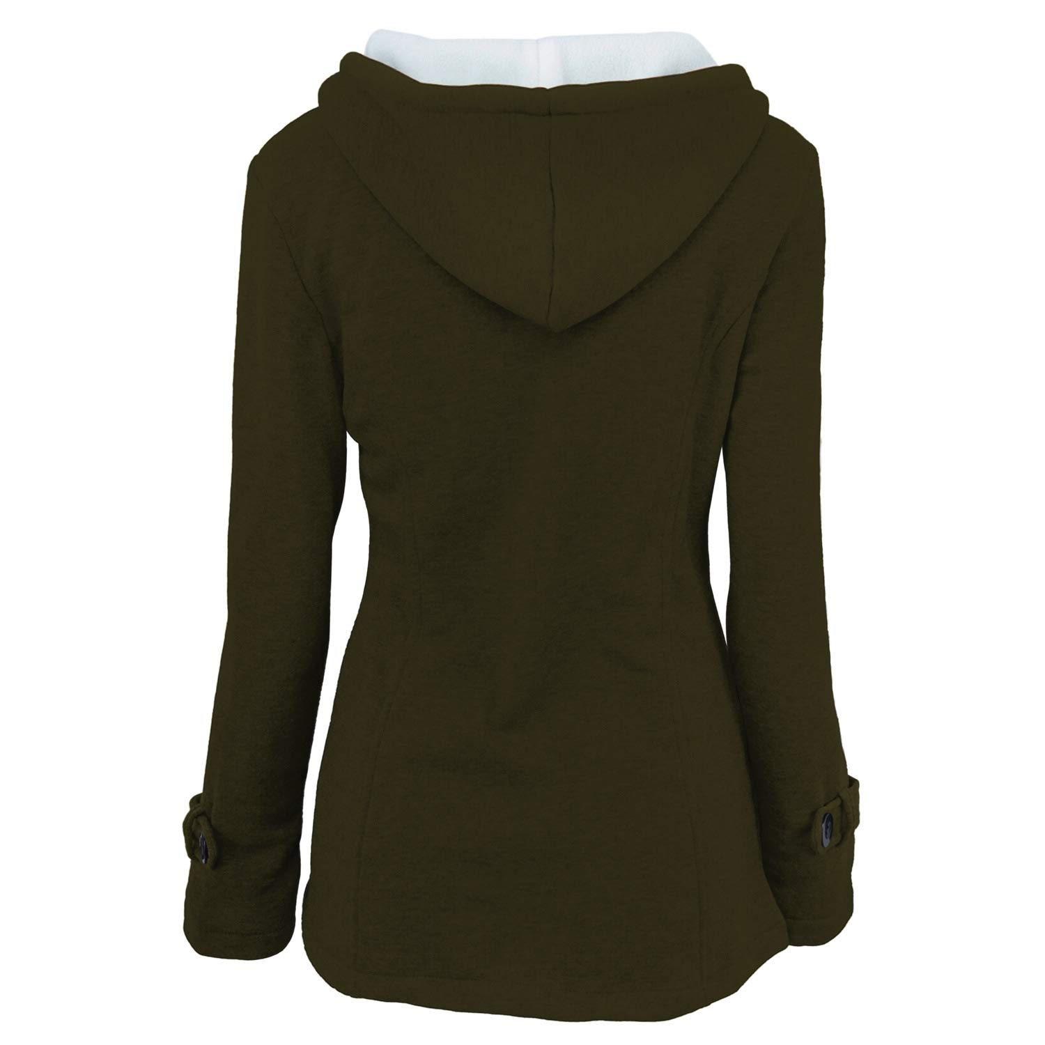 YUNY Womens Hooded Topcoat Wool Buckle Outwear All-Contest Warm-up Jacket Green 4XL