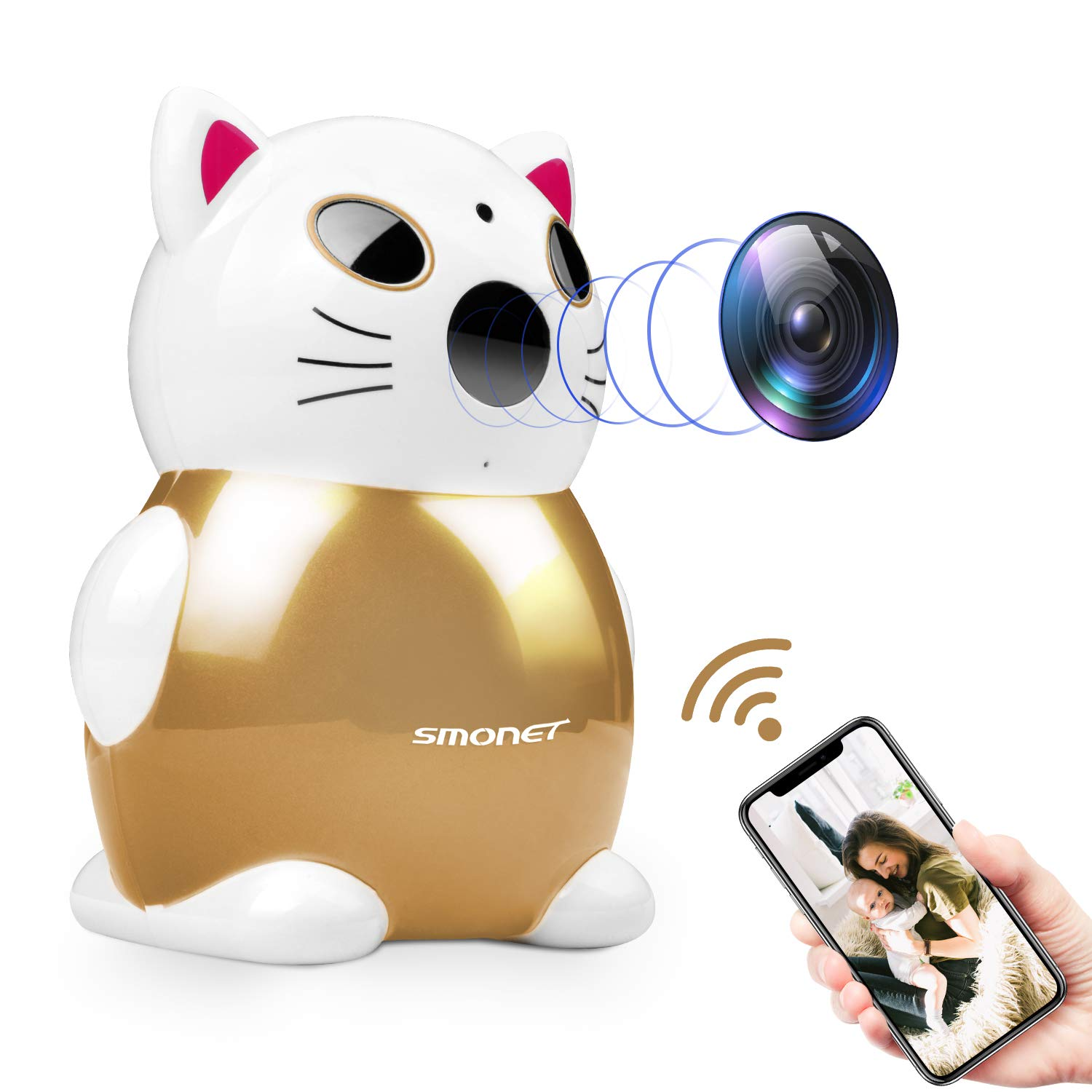 Wireless HD IP Camera,SMONET WiFi Security Camera Nanny IP Cam with Motion Detection,Night Vision,2-Way Audio for Baby Pet Elder Care Golden