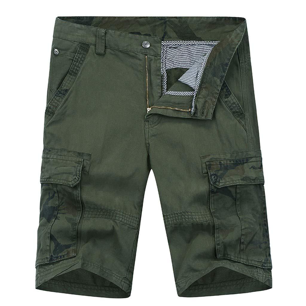 Mysky Fashion Men Summer Classic Pure Color Multi-Pocket Short Cargo Pants Work Trouser