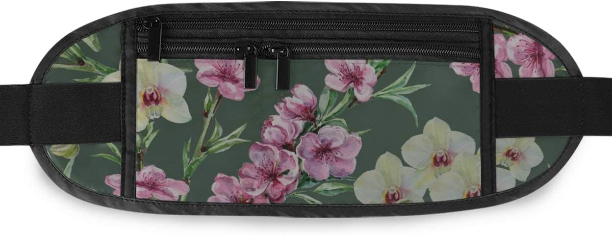Peach Flowers Orchids Pattern Running Lumbar Pack For Travel Outdoor Sports Walking Travel Waist Pack,travel Pocket With Adjustable Belt