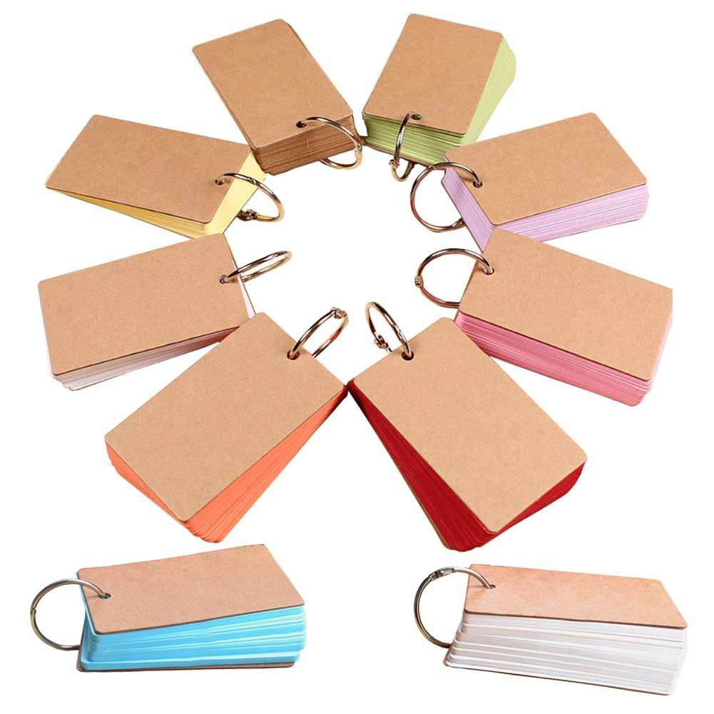 10 Sets of Study Cards, Mini Blank Flash Cards,Multicolor Card Colored Pages Portable Memo Note with Metal Binder Ring,Without Kraft Cover,50 Sheets per Set(Random Color)