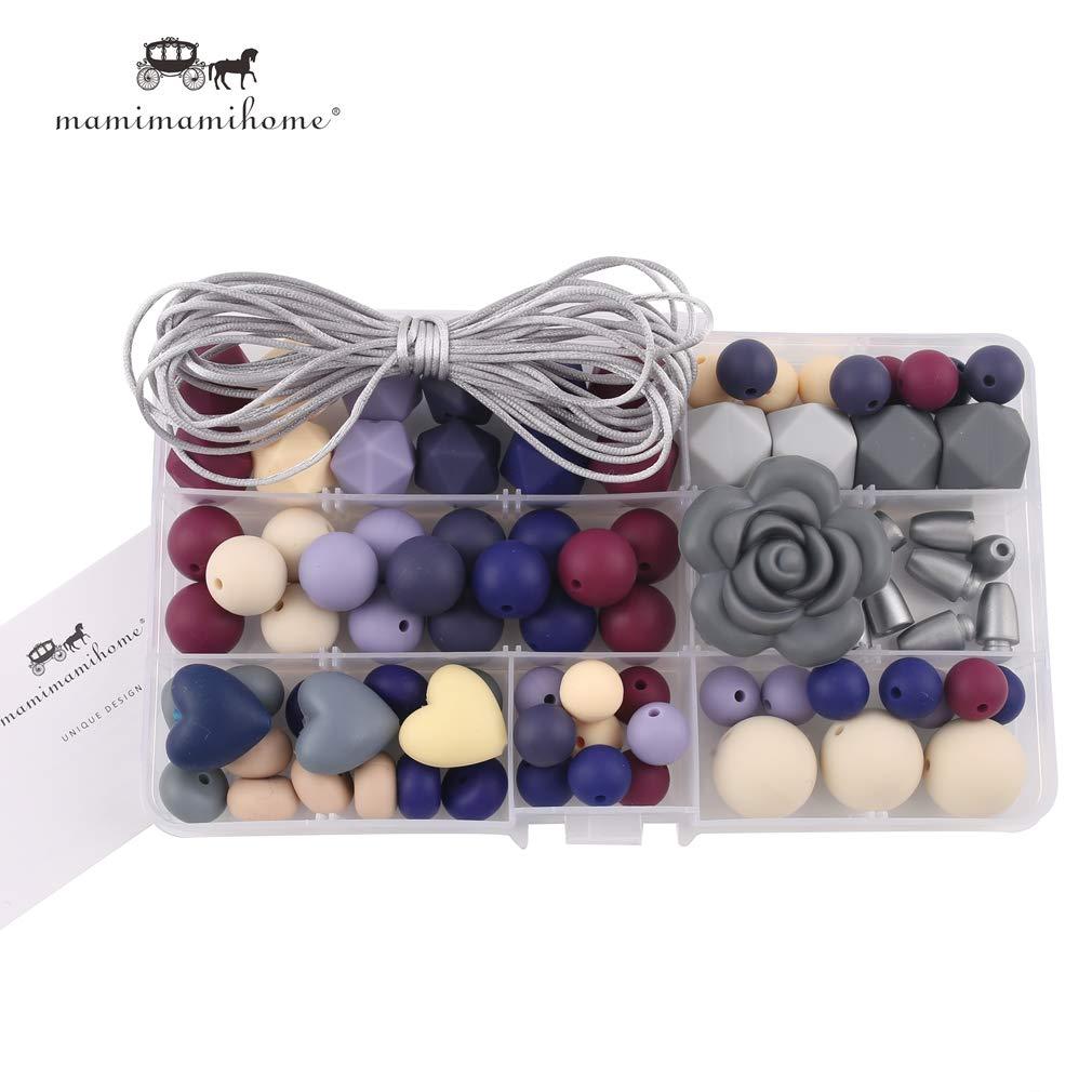 Mamimami Home Accessoires pour B/éb/é Fait Main Clip de Sucette Bricolage Artisanat Ensemble de Perles Bijoux de Dentition Bracelet en Soins Infirmiers Collier en Silicone