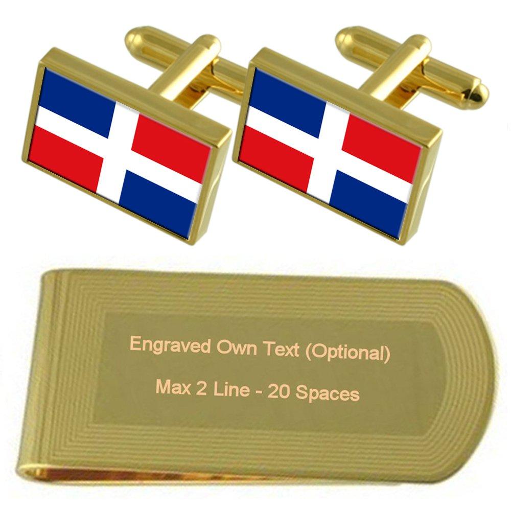 Yap Flag Gold-tone Cufflinks Money Clip Engraved Gift Set