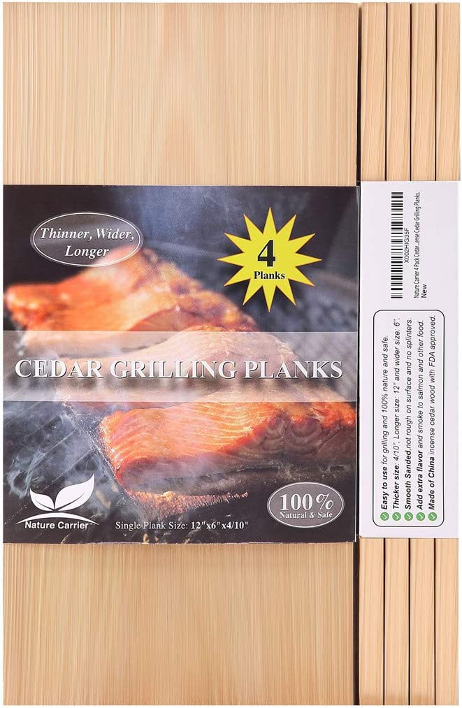 """Nature Carrier 4 Pack Cedar Planks for Grilling Salmon/Fish with Thicker (4/10"""") & Larger (12""""x 6"""") Size. Add Extra Flavor and Smoke - BBQ China Incense Cedar Grilling Planks. : Garden & Outdoor"""