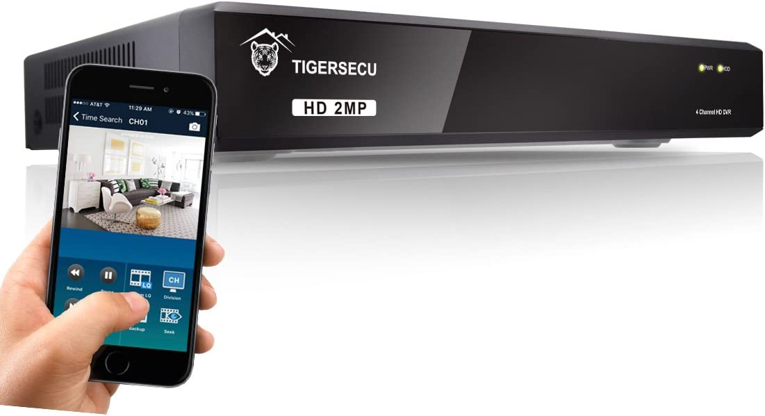 TIGERSECU Super HD 1080P H.265 4-Channel Hybrid 5-in-1 DVR NVR Security Video Recorder, Supports Analog and ONVIF IP Cameras Cameras and Hard Drive Not Included