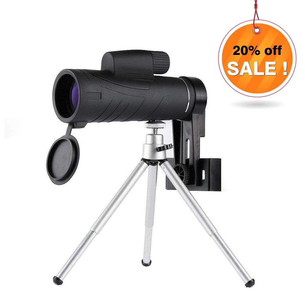 Telescopio telescopio impermeable 10X42 Telescopio HD con prisma de techo BaK4, soporte y trípode para teléfono móvil, diseño de enfoque con una sola mano para observacr los animales en lontananza o de aves caza de viaje Camping, partido de fútbol. Landnic