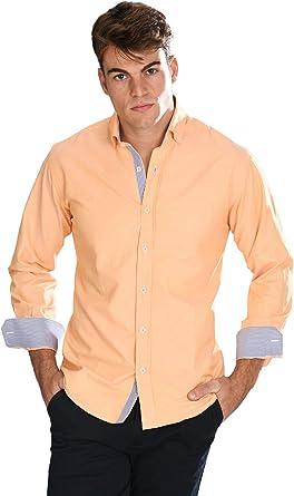 Camisa Oxford semientallada y Manga Larga de Hombre en Naranja - 8_4XL, Naranja: Amazon.es: Ropa y accesorios