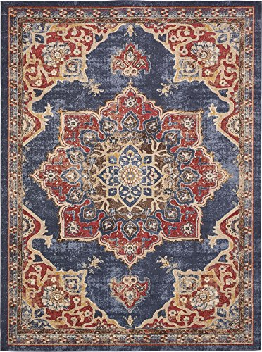 Pottery Barn Outdoor Rugs - Traditional Persian Rugs Vintage Design Inspired Overdyed Fancy Dark Blue 8' 11 x 12' FT (274cm x 366cm) St. James Area Rug
