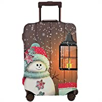 Travel Luggage Cover,Cute Snowman With Santa Hat In The Garden With A Gift Box And Lantern Suitcase Protector