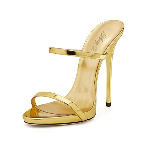 f7431b795466 Amy Q Simple Women s Evening Patent Leather Stiletto Heel Mules   Amazon.co.uk  Shoes   Bags