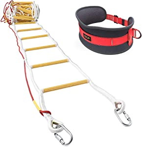ISOP Emergency Fire Ladder for4 Story Homes 32ft (10m) Flame Resistant Fire Safety Rope Ladder with Carabiners & Safety Belt - Fast to Deploy & Simple to Use - Portable & Compact