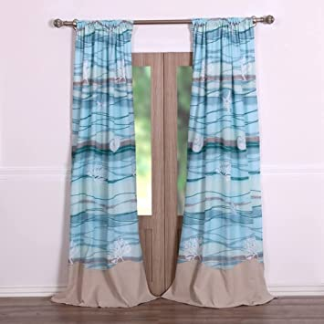 Amazon.com: Coastal Seaside Beach Blue Window Panels Curtains ...