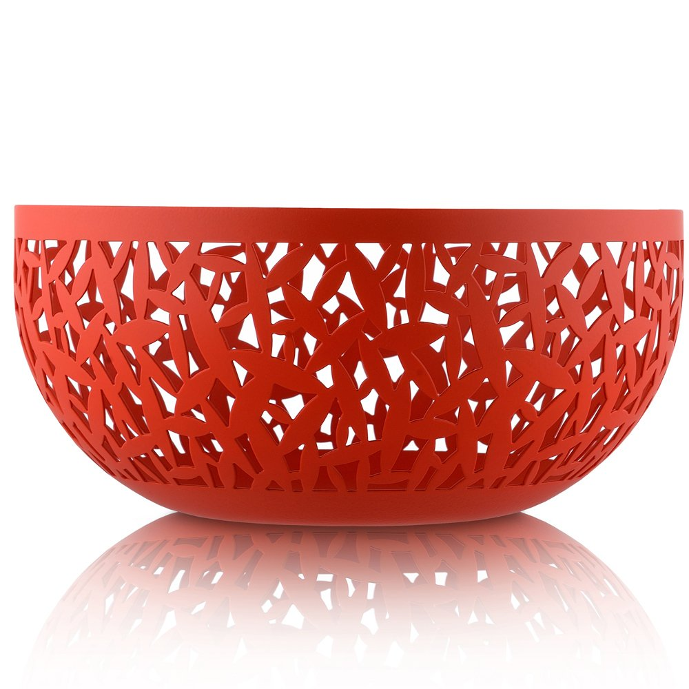 Alessi MSA04/21 R CACTUS! Open-work fruit holder in steel coloured with epoxy resin, Super Red. Ø 21 cm