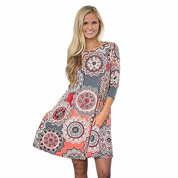 Vestido de verano para mujer, FEITONG Vestido floral de fiesta vintage Boho Maxi Evening Party
