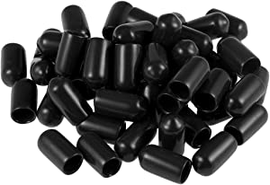 uxcell Screw Thread Protectors 1/4-inch ID Rubber Round End Cap Cover Black Flexible Tube Caps Tubing Tip 50pcs