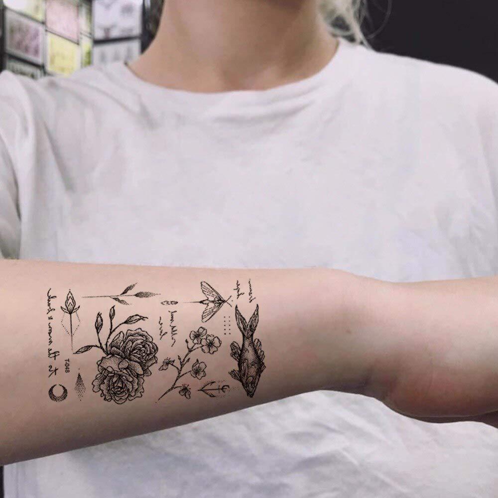Tatuaje impermeable moda temporal negro niña flash diseño femenino ...