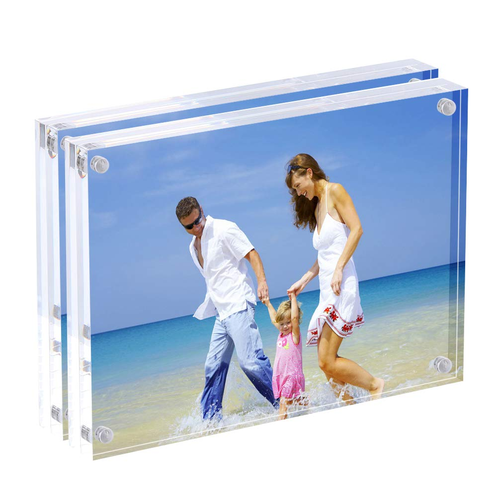 AMEITECH Acrylic Photo Frames 6x8'',Magnetic Acrylic Block Picture Frame,Desktop Frameless Photograph Display (2 Pack)